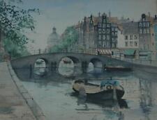 Vintage Watercolor The Torensluis in Amsterdam by Listed Artist Jan Den Hengst