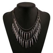 Multilayer Rivet Necklace Spike Pendant Tassel Necklace Women Accessories