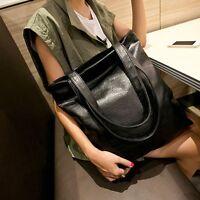 Damen Leder Groß Handtasche Schultertasche Umhängetasche Shopper Beutel Tasche