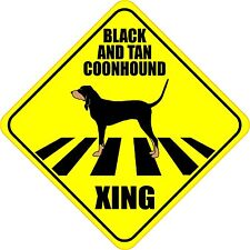 "Black And Tan Coonhound Xing Crossing Road Sign 5"" Dog Silhouette Sticker"
