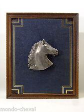 TABLEAU ANCIEN ENCADRE, cuir et tête de cheval en étain signée Roux