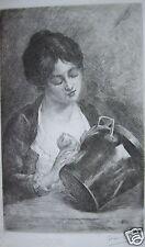 GASTON GERARD 1859-? GRAVURE FEMME DOMESTIQUE FAISANT LES CUIVRES LE CHAUDRON