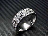 men 14k white gold over 2ct diamond prong setting wedding anniversary band ring