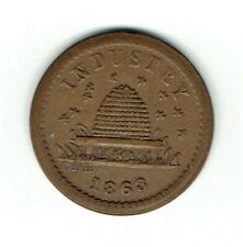 Copper Fuld 188/384 R3 Civil War Patriotic token with bee hive 00004000  and 1863 date