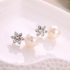 Silver Drop Pearl Crystal Jewelry Floral Stud Earrings Accessory UK SELLER ER32