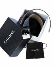 CHANEL Black Patent Leather Belt with Black & White Enamel Buckle NWT
