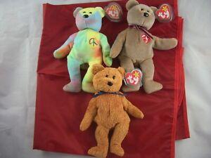 Ty Beanie Babies Peace, Signature & Fuzz Bears
