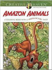 ADULT COLORING BOOK ~ AMAZON ANIMALS w/HIDDEN PICTURE TWIST ~ REMOVEABLE PAGES