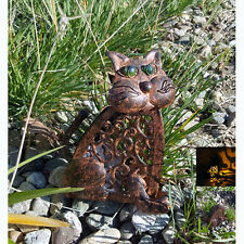 Solar Powered Antique Metal Cat with Amber LED Light, Rustic Vintage, Auto Night