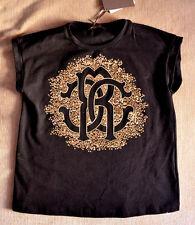 Authentic Roberto Cavalli Kids Girl Black Graphic T-shirt with rhinestones (6)