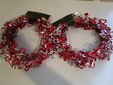 RED & SILVER FOIL HEARTS WIRE GARLAND 2 SETS 25 FT EA WEDDING VALENTINES NIB