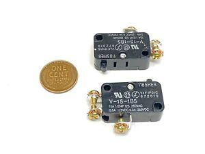 2 Piece limit switch Black v-15-1b5 No lever SPDT micro 3pin screw terminals C51