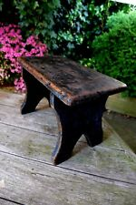Vintage wooden French stool, farm, country style, 4 legs stool, cottage, house.