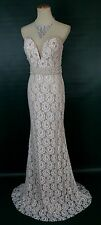 NEW $590 Jovani Lace Long Formal Prom Mermaid Pageant Size 4 Ivory Strapless NWT