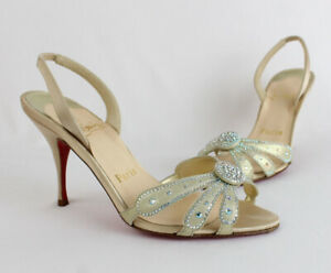 Christian Louboutin Auth Gold Crystal Satin Leather Crystal Heel Shoe 36 6