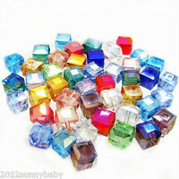 Wholesale 50/100pcs Faceted Square Cube Glass Crystal Loose Spacer Beads 6mm
