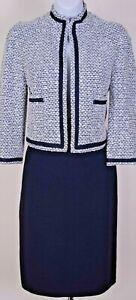 ST.JOHN Women Suit Knit Navy Blue White Boucle Tweed Jacket & Skirt Sz 6