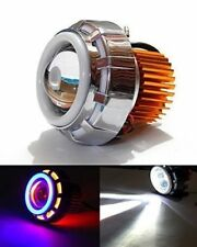 New Universal Car Bike Red Blue Led Projector Head Light Double Ring Angel Eye