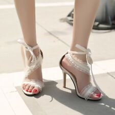 Fashion Women Lace High Heels Ankle Strap Sandals Open Toe Casual Stiletto Shoes