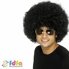 1970s BLACK LARGE HUGE FUNKY AFRO WIG mens fancy dress costume accessory