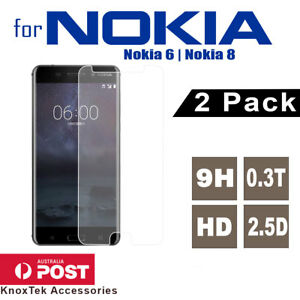 2X Tempered Glass Screen Protector Film Guard for Nokia 6 / 8