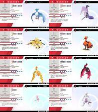 Non Shiny 6IV EV Trained 1st Gen Legendary/Mythical Pokemon Sword/Shield