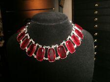 necklace narrow garnet oblong 925 Silver Cleopatra choker adjustable