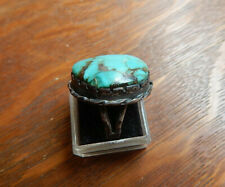 Vintage Navajo Sterling Silver Turquoise Ring Size 8 Tepee Hallmark