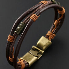 Men Vintage Braided Leather Bracelet Brown Rope Wrist Band Cuff Bangle Gift