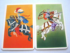 SINGLE SWAP CARDS X2 MEDIEVAL JOUSTING KNIGHTS 1960 VINTAGE PLAYING CARD