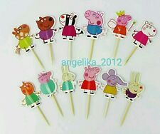 12 x PEPPA PIG Cake Picks Cupcake Toppers Flags BIRTHDAY PARTY DECORATIONS Suzi