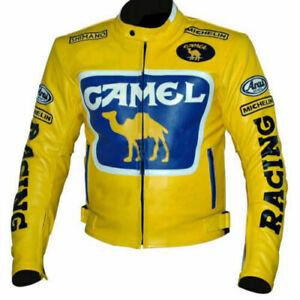 Handmade Men Yellow Motorbike CAMEL Racing Leather Jacket