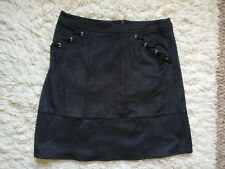 Ladies Size 12 Black Faux Suede Knee Length Smart Casual Skirt By George