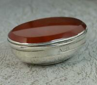 Georgian Carnelian Agate and Solid Silver Snuff Table Box Circa 1760