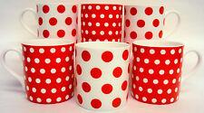 Red Dots & Spots Mugs Set of 6 Bone China Balmoral Red Mugs Hand Decorated in UK