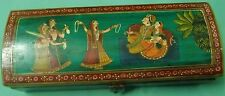 Extremely beautiful wooden pencil box colorful hand painting of indian royals