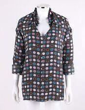 MARNI Gray Polka Dot Long Sleeve Pleated Double Collar V Neck Top Blouse Size 42