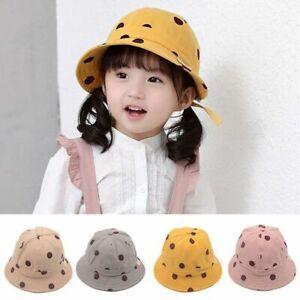 Kids Polka Dots Bucket Hat Children Summer Beach Fishing Cap Fashion Accessories