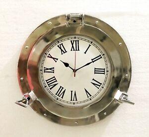 Vintage Navigation Marine Brass Ship Porthole Clock 11'' Ship Window Wall Clock