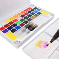 Portable Watercolor Paint Set with Brush, 12 18 24 36 Colors Sketch Drawing