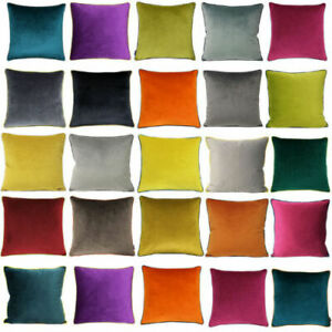 Paoletti Meridian Velvet Cushion Cover with contrast Piping 55 x 55 Cm,