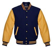 Varsity Bomber Letterman Baseball Navy Blue Wool & Gold Leather Sleeves jacket