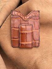 mens genuine alligator wallet Money clip With Magnet, Cognac