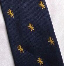 GOLD LION CREST MOTIF TIE CLUB ASSOCIATION COLLEGE SCHOOL 1980s 1990s NECKTIE