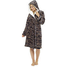 Women's Animal Print Fleece Robe, Plush Hooded Dressing Gown, Size 8-22, LN665
