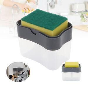 Kitchen 2 In 1 Pump Soap Dispenser Holder Sink Sponge Caddy Countertop Rack UK