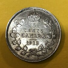 1913 Canada, 5 Cents /Half-Dime, Silver Coin, High Grade / Collectible Antique