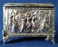 Antique AB PARIS gilt silver plate repousse casket jewellery box classic scenes