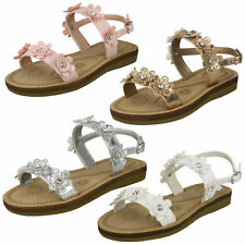 Girls Rose Gold / White  Floral Open Toe Summer / Party Sandals H0R292