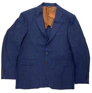 $3,000 Loro Piana Blue Wool Silk Linen Blazer Size US 46, EU 56, Made in Italy